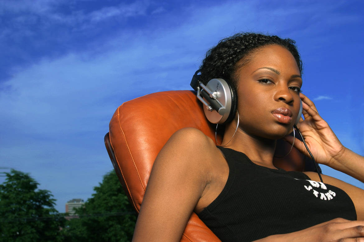 portrait of an african american woman with headphones
