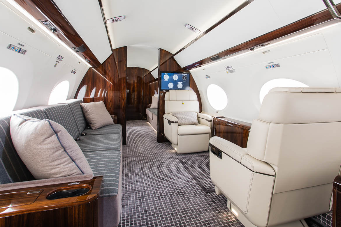 aircraft interior with couch